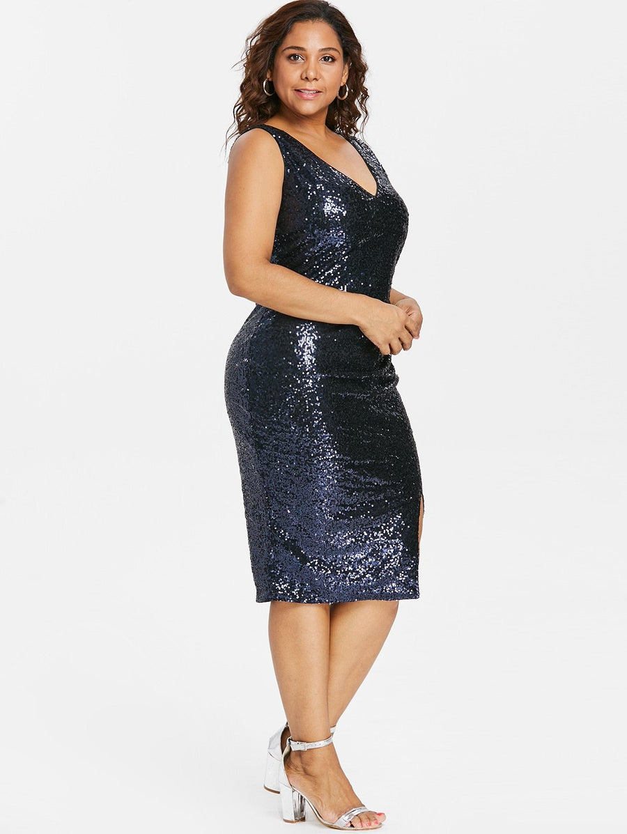 Plus Size Sequined Sheath Dress - My Lifestyle Stores