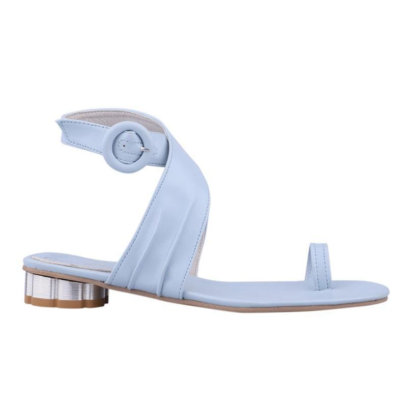 Buckle Strap Low Heels Sandals - My Lifestyle Stores