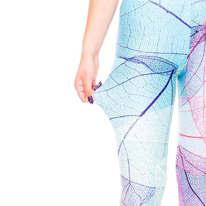 High Waist blue Rainbow leaves 3D printed push up Pants - My Lifestyle Stores