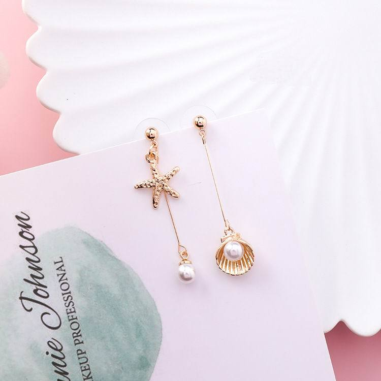 Cute Starfish Metal Shell Drop Earrings - My Lifestyle Stores