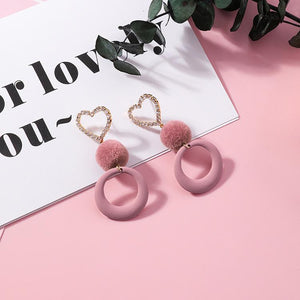 Heart Pom Pom Ball Long Earrings - My Lifestyle Stores