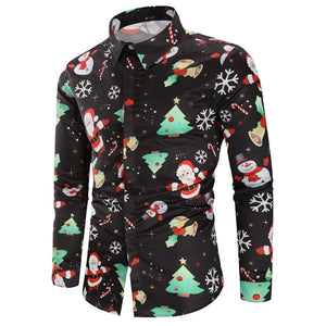 Casual Snowflakes Santa Candy Printed Shirt - My Lifestyle Stores