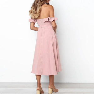 Plus Size Off Shoulder High Waist Dress - My Lifestyle Stores