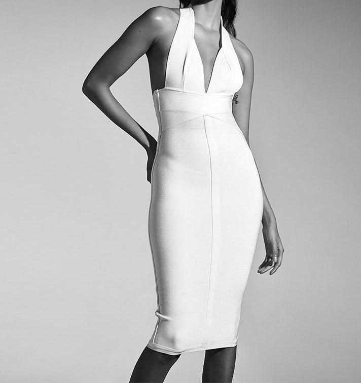 V Neck Backless Bandage Dress