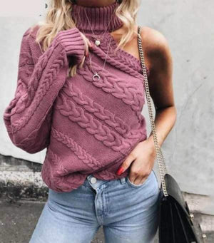One Shoulder Knitted Sweater - Twist Pullover - My Lifestyle Stores