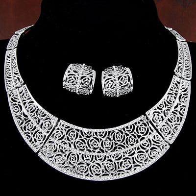 Floral Hollow Cut Piercing Collars Jewelry Set - My Lifestyle Stores