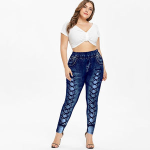 Lace Up 3D printed Skinny Jeggings - My Lifestyle Stores
