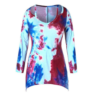 Plus Size Tie Dye Cut Out Top
