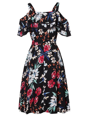 Boho Floral Print Cold Shoulder Dress