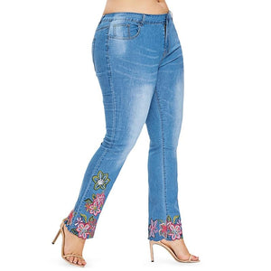 Skinny Embroidered Denim Flare Jeans - My Lifestyle Stores