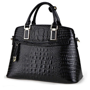 Genuine Leather Crocodile Pattern Handbag - My Lifestyle Stores