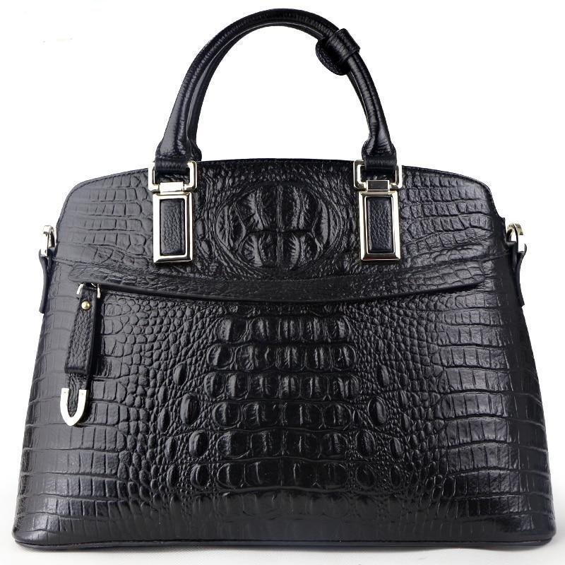 Genuine Leather Crocodile Pattern Handbag