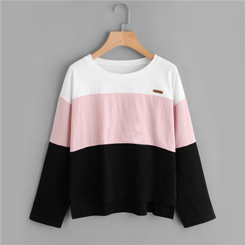 Color Block Patch Detail Tee Casual Top - My Lifestyle Stores