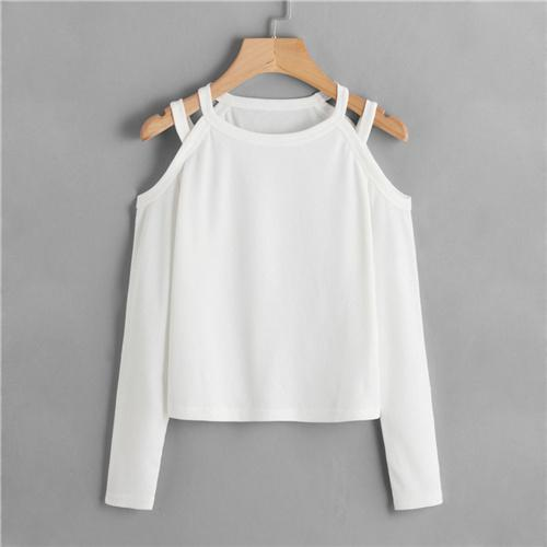 Cold Shoulder Ribbed Tee Shirt for Fall and Autumn - My Lifestyle Stores