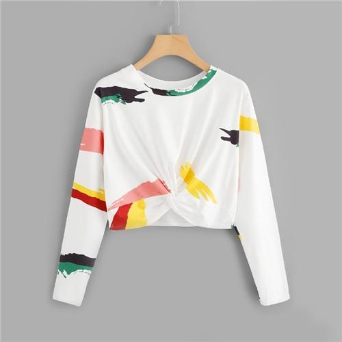 White Twist Front Printed Crop Tee Pullovers - My Lifestyle Stores
