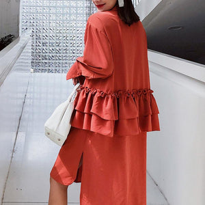 Turn-down Collar Ruffle Neck Dress - My Lifestyle Stores