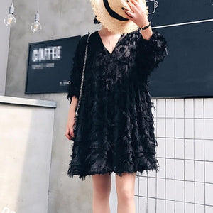 Batwing Sleeve Loose Feather Dress - My Lifestyle Stores