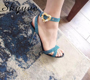 Silk with Czech Heart-shaped Diamond Button High Heels Sandals - My Lifestyle Stores