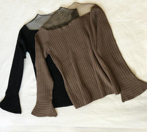 Knitted Sheer Sweater with Long Flare Sleeves - My Lifestyle Stores