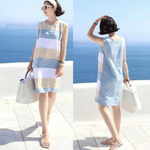 Contrast Color Striped Dress