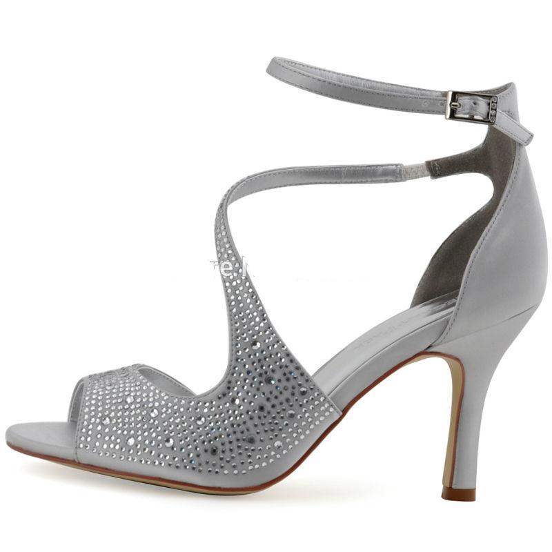 Silver Ankle Strap High Heel Wedding Shoes - My Lifestyle Stores