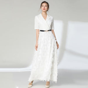 Elegant Long Feather Dress - My Lifestyle Stores