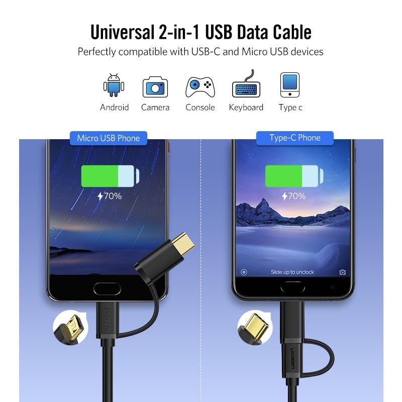 Micro USB 2 in 1 Type C Cable