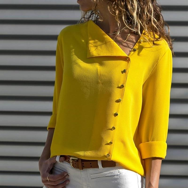 Skew Collar Long Sleeve Top - buttons front blouse - My Lifestyle Stores