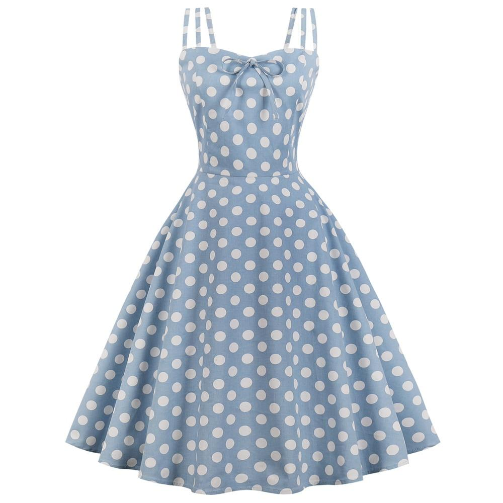 Plus Size Vintage Dress Blue Polka Dot Print Pin Up Dress - My Lifestyle Stores