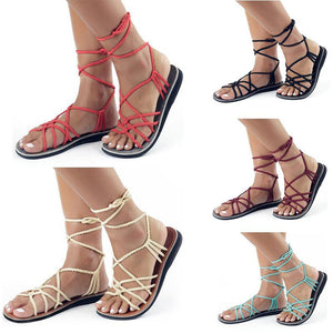 Flat sling back cross-tied lace up Sandals - My Lifestyle Stores
