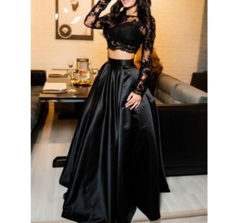 Black Lace Long Sleeve Satin Prom Gown - Two-pieces Dress - My Lifestyle Stores
