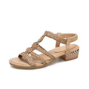 Woven square heels leisure Sandals - My Lifestyle Stores
