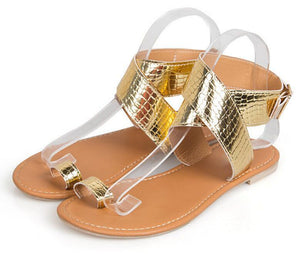 Shiny snake PU leather sling back Sandals - My Lifestyle Stores