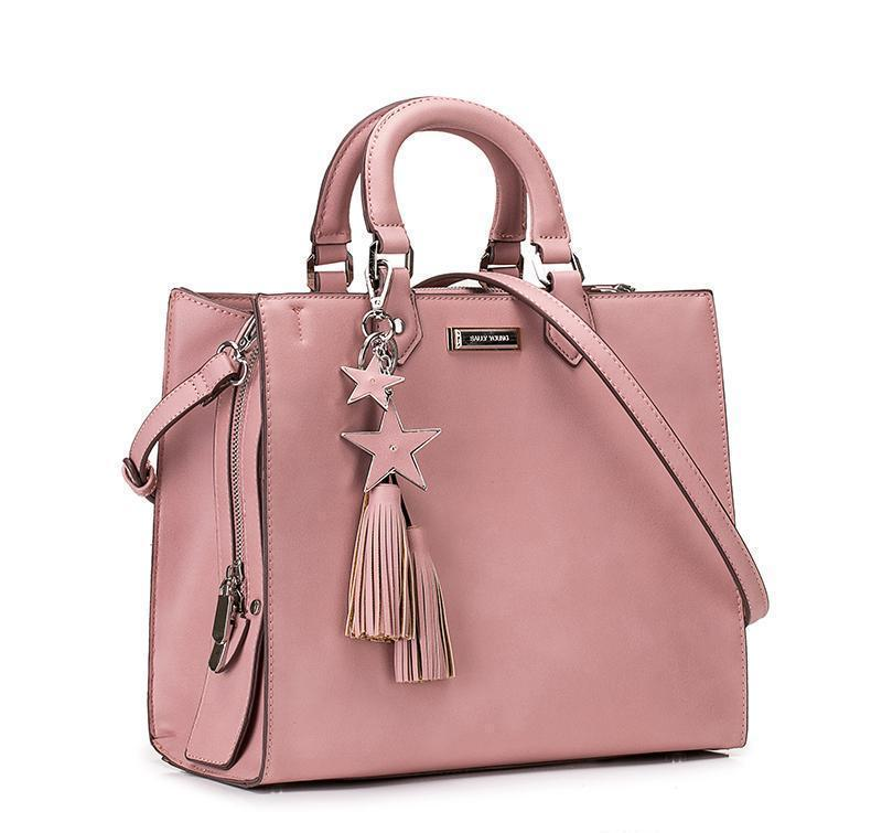 Plain Pink Tote Stars Tassel Pendant Square Bag - My Lifestyle Stores