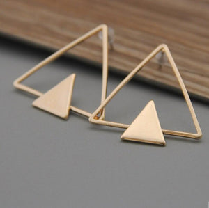 Gold & Silver Plated Double Triangles Earrings Stud - My Lifestyle Stores
