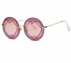 Round Frame Heart-shaped Lens Brand Designer Fashion Shades Sun Glasses - My Lifestyle Stores