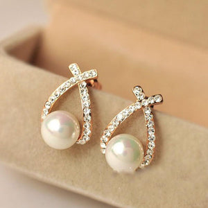 Big white pearl with Crystal Rhinestone Ear Stud Earrings - My Lifestyle Stores