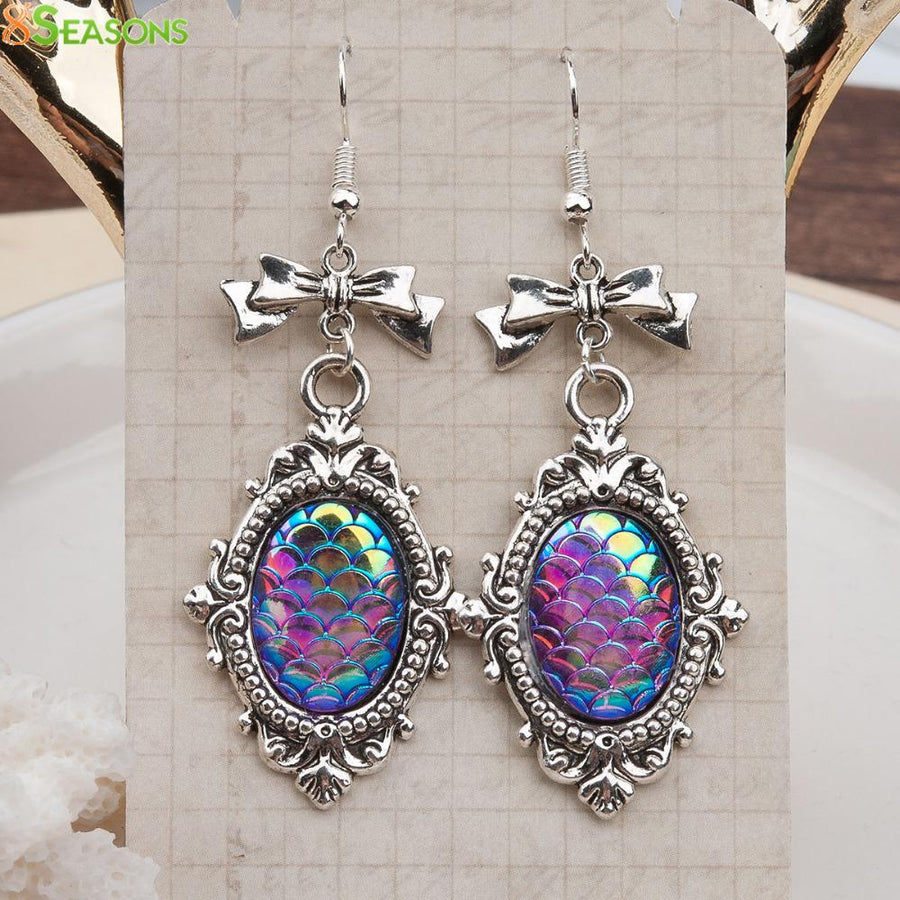 Resin Mermaid Fish / Dragon Scale Earrings Antique Silver Color - My Lifestyle Stores