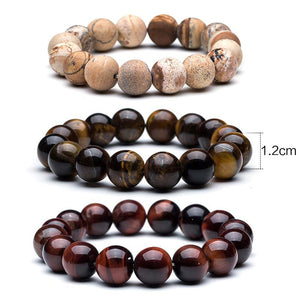 Tiger Eye & Mew Lava Natural Stone Bracelet for men - My Lifestyle Stores