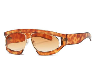 Oversized Half Frame Luxury One Piece Openwork Sun Glasses - My Lifestyle Stores