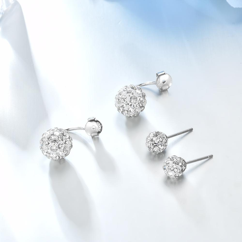 Elegant Double Spherical 100% 925 Sterling Silver Earrings - My Lifestyle Stores
