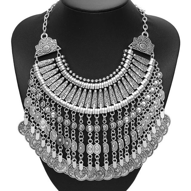 Designer Bohemian Handmade Floral Vintage Silver Color Coin Tassel Necklace - My Lifestyle Stores