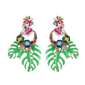 Bohemian Wedding Leaf and Flower Drop Earrings - My Lifestyle Stores