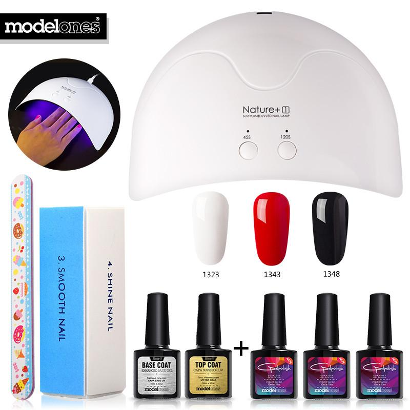Modelones 8Pcs 16W Nature1 Led Lamp Nail Art Kits DIY Nail Design UV Gel Polish Set - My Lifestyle Stores
