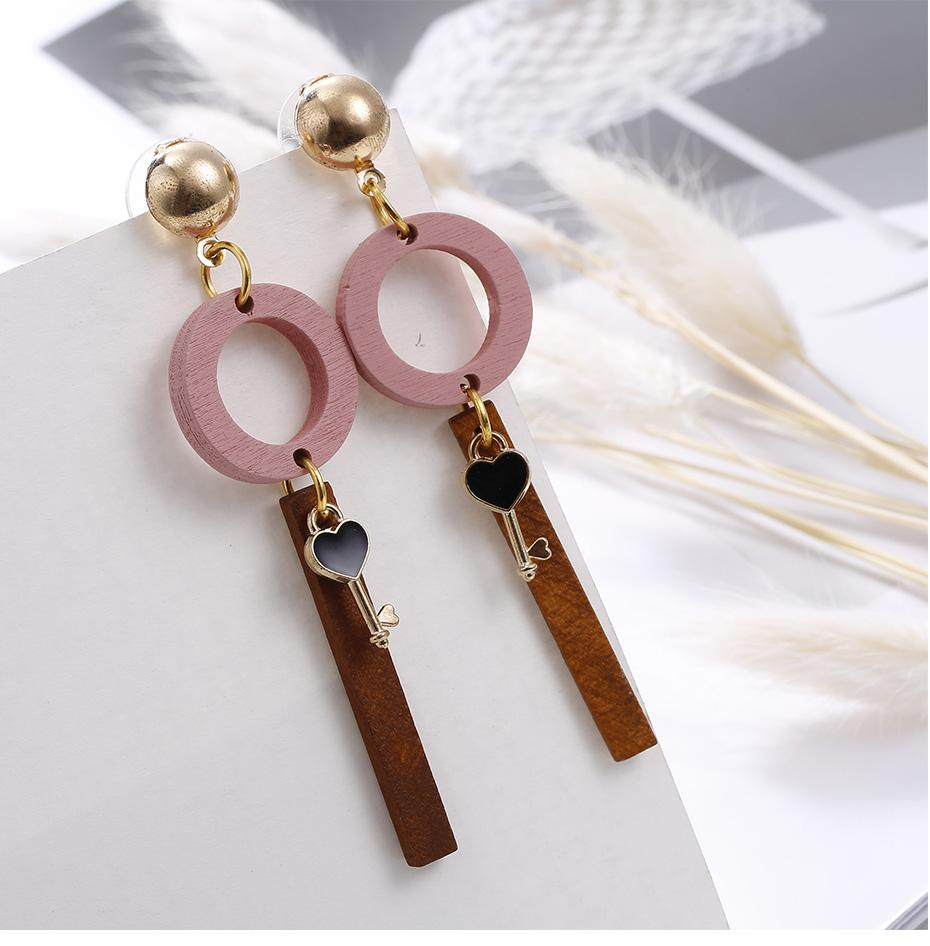 Natural Wood Drop Earrings - Pink Circle Metal Strip Key Dangle Earring - My Lifestyle Stores