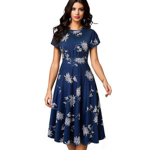 Elegant Floral Print Pleated A-Line Flare Swing Dress - My Lifestyle Stores