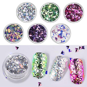 3D Triangle Sequins Nail Glitter Chameleon AB Flake Paillette Mirror Effect Nail Decoration 6 Boxes - My Lifestyle Stores