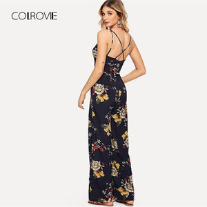 Crisscross Back Floral Sleeveless Jumpsuit - My Lifestyle Stores