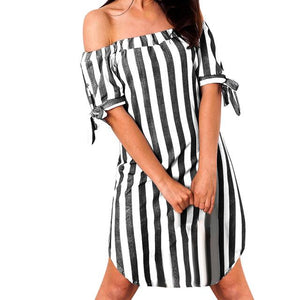 Off Shoulder Loose Mini summer dress - My Lifestyle Stores