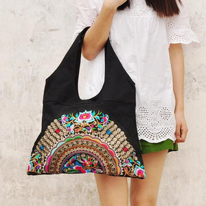 Vintage Ethnic Floral Embroidered Tote Bag - My Lifestyle Stores